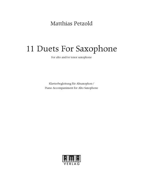 11 Duets for Saxophone – Klavierbegleitung (A-Sax)