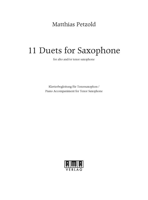 11 Duets for Saxophone - Piano Accompaniment (T-Sax)